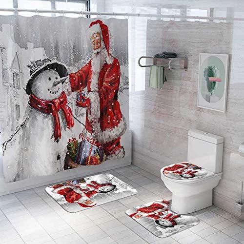 ARTIFUN 4 PCS Christmas Bathroom Decorations Set Toilet Seat Cover Rug Shower Curtain Sets Xmas Santa Claus Elk Snowman Bathroom Decor (A11)