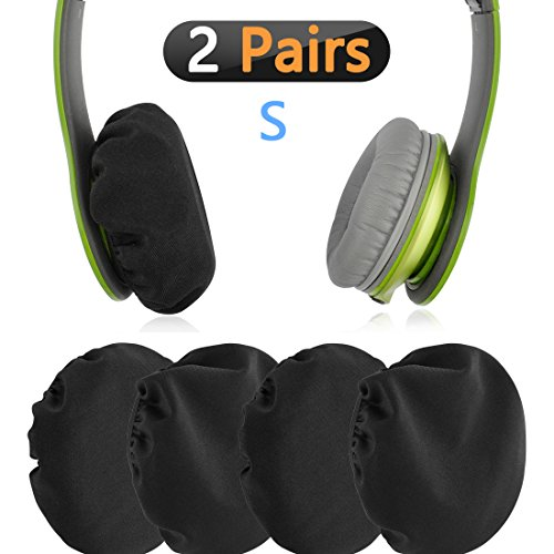 Geekria Flex Fabric Headphone Earpad Covers/Stretchable and Washable Sanitary Earcup Protectors. Fits 1'-3' On-Ear Headset Ear Cushions/Good for Gym, Training (Black, 2 Pairs)