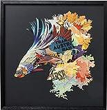 Kare 65536 - Cuadro (65 x 65 cm), diseño de peces, color negro