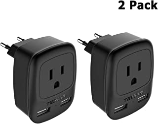 European Plug Adapter 2 Pack, TESSAN USA to Most of Europe Travel Power Plug Adapter with 2 USB Charging Ports - 3 in 1 Type C Europlug US to EU Italy Spain Greece Outlet Adaptor