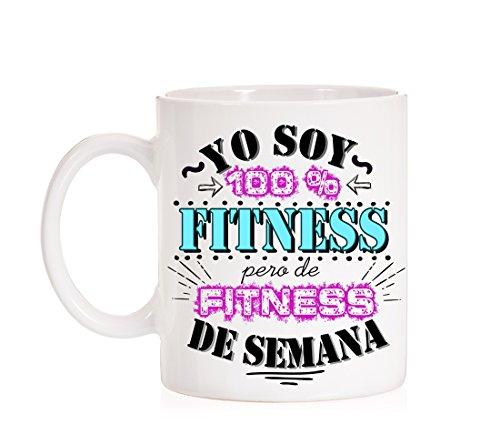 Taza Yo Soy 100% Fitness, Pero de Fitness de Semana. Taza Regalo para los Deportistas de Fin de Semana. Running. Ciclista.
