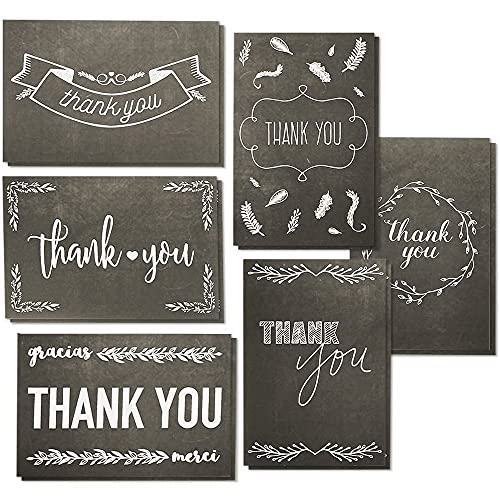 Thank You Cards with Envelopes, White Chalkboard Designs (4 x 6 In, 144 Pack)