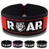 Roar® Cinturón Lumbar Gimnasio, Cinturon Gimnasio Hombre y Mujer, Cinturon Halterofilia, Powerlifting, Crossfit, Levantamiento Peso, Musculacion, Cinturon Gym Hombre, Cinturon Pesas (Rojo, XS)