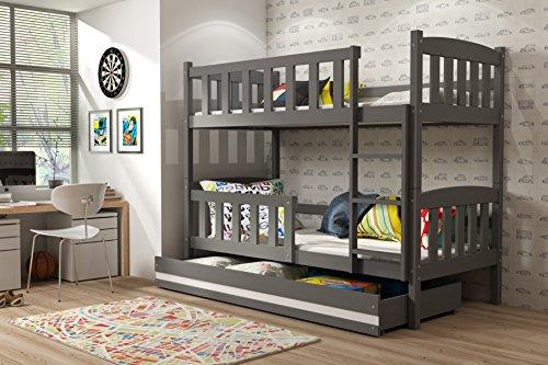 Letto a castello GIACOMINO 190x90 con cassettone, lettino per bambini e ragazzi, cameretta ragazzi, materassi in spugna compresi nel prezzo (Grigio)