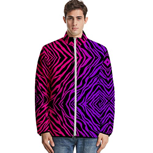 URVIP Unisex 3D Printed Animal Fur Texture Down Jacket Puffer Coat with Pockets Multi-22 2XS
