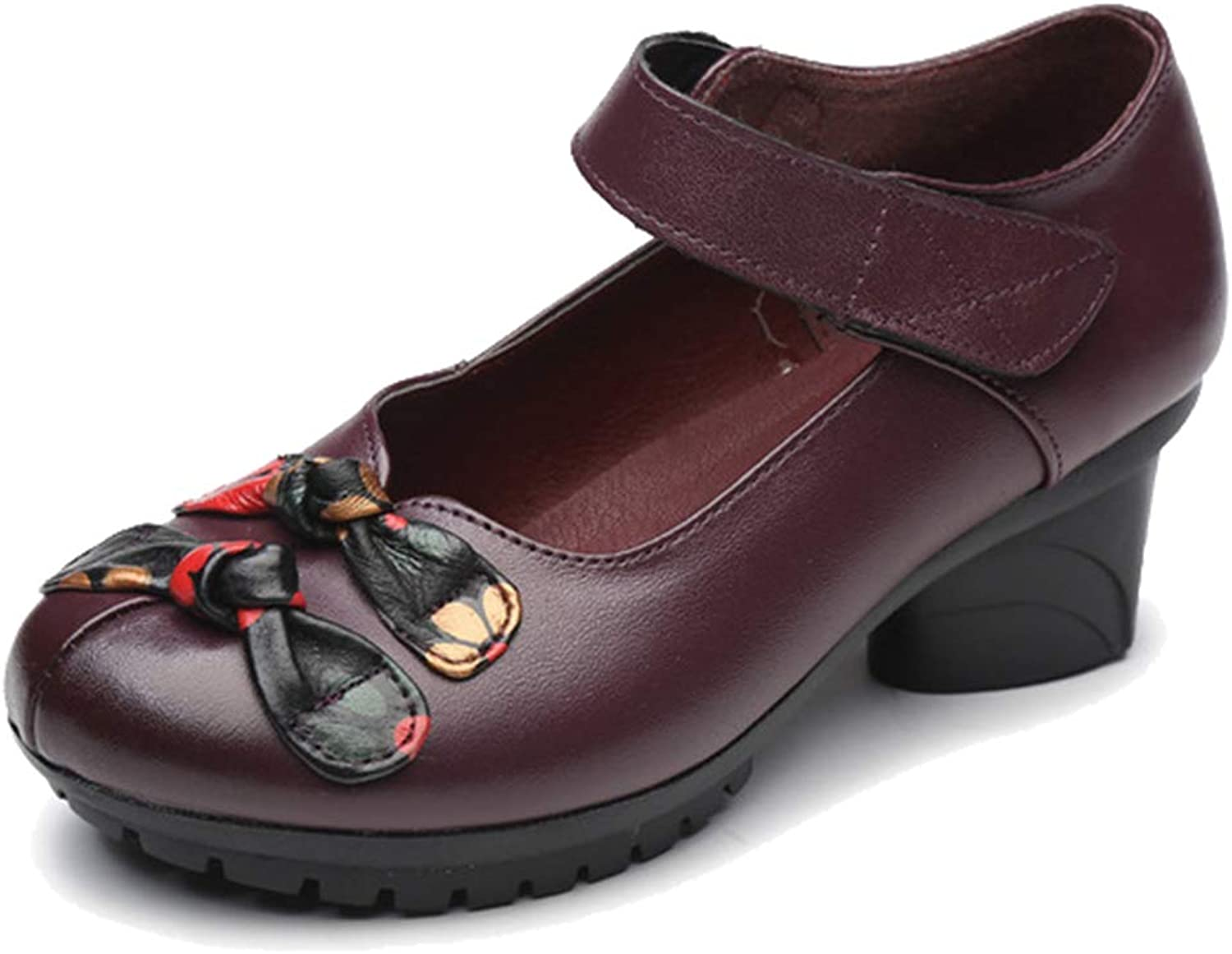 Femaroly Women Leather Casual Walking shoes Middle-Aged Buckle Flower Mother Breathable Dress shoes