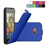 COOVY Étui pour Nokia Lumia 630/635 Slim Flip Coque Housse Étui de Protection Fin à clapet avec écran de Protection | Couleur Bleu foncé