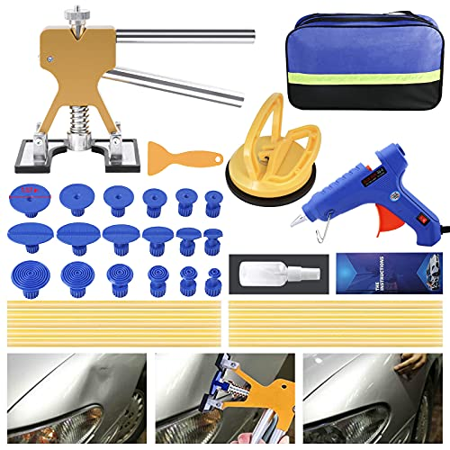 ZEUSFIRE Dent Puller Kits,Professional Car Dent Puller Remover,Paintless Dent Removal Kit with Golden Lifter Glue Gun,Suction Cup,Tabs for Car Dent Repair Hail Damage Repair Refrigerator Dings Repair