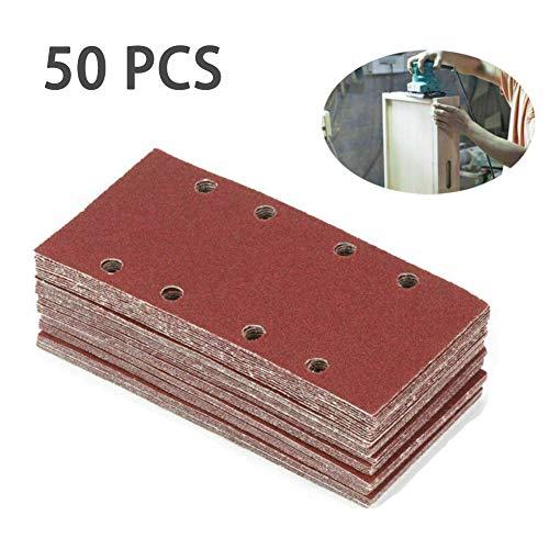 ConPush 50PCS 8 Löcher Detail Orbital Sander Schleifpapier für Schwingschleifer mit Schleifblätter Papier Sandpapier 40/60/80/100/120 Grits