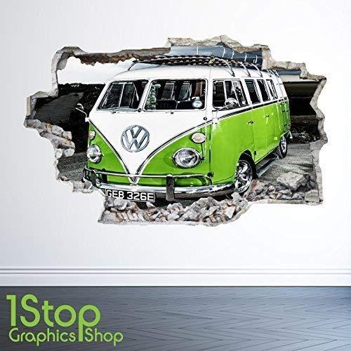 1Stop Graphics Shop VW Campingbus Wandaufkleber 3D Optik - Schlafzimmer Lounge Stadt Wand Abziehbilder Z22 - Large: 70 cm x 111 cm
