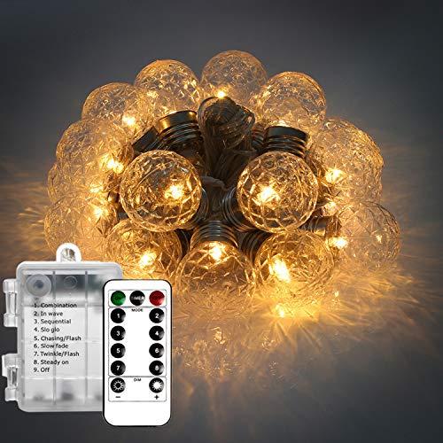 Catena Luminosa Telecomando, Wafly 6M 20 Palle Luci Natale Batteria/USB/Solare
