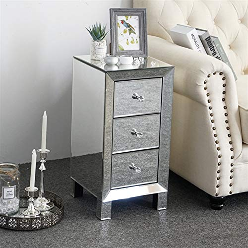 Goujxcy Mirrored Nightstand End Tables Bedside Table, Mirrored Accent Silver Table with Drawer,Smooth Mirror Finish Mini Cabinet for Bedroom, Living Room (Mirror Sliver 2)