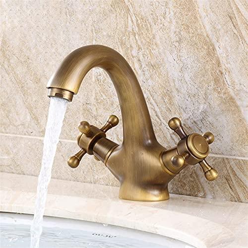 WLLYP Faucet Bronce Fregadero Cuarto de baño Faucets de Agua fría Caliente Dual Manija de Lavabo Fregadero Mezclador (Size : 7422)