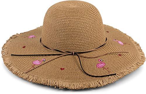 styleBREAKER Damen Strohhut mit Flamingos, Herzen und schmalem Band, Sonnenhut, Schlapphut, Sommerhut, Hut 04025022, Farbe:Braun