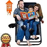 2021 Upgraded Oversize Zero Gravity Chair, Support 420 lbs Zero Gravity Recliner 18 inch High Lounge Chair (Others 15 inch), Easy Carry Beach Camping Chair with Cup Holder