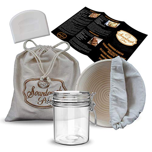 Sourdough Starter Jar, 9' Banneton Sourdough Bread Proofing Basket with Liner, Linen Bread Bag, Plastic Dough Scraper, Thermometer, Spatula and Printed Instructions with Recipes