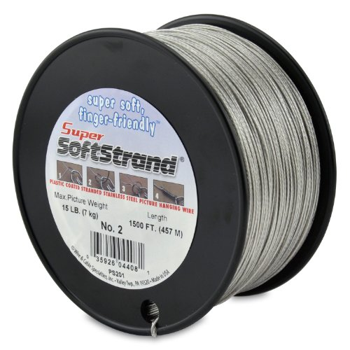 Wire & Cable Specialties Super Softstrand, Vinyl Coated Stranded Stainless Steel Wrapping, Size 2, 1500 ft (457.2 m) Picture Wire
