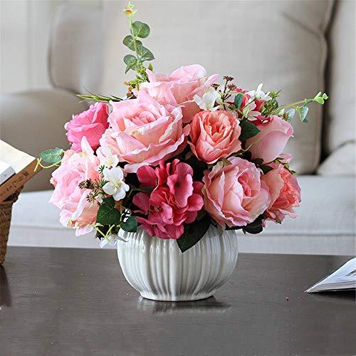 LHY DECORATION Künstliche Blumen gefälschte Pflanzen mit stilvoller Keramik Vase, Real Touch Parfüm Blumen-Blumenstrauß von Qualitäts-Hochzeit Startseite Decoratios,G