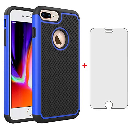 Phone Case for iPhone 7plus 8plus 7/8 Plus 5.5 with Tempered Glass Screen Protector Cover and Cell Accessories Hard Rugged Hybrid Rubber Silicone i Phone7s 7s + 7+ 8s 8+ Phones8 Cases Black Blue