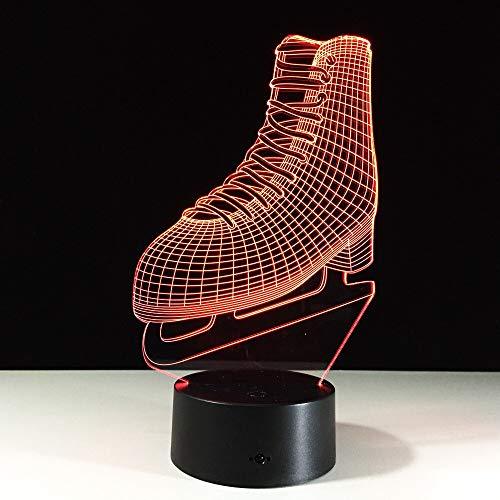 Patines 3D Iluminación de lámpara Led para el hogar Zapatos Escritorio Lámpara de mesa Kid 3D Nightlight Como regalo de Navidad