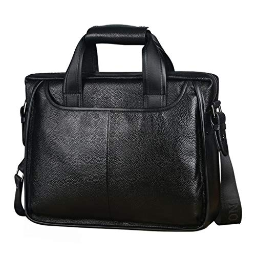 A-hyt Comfortable and convenient Fashion Cowhide Male Commercial Briefcase/Real Leather Vintage Men's Messenger Bag/Effortless Biological Cowskin Business Bags Easy hike (Color : Black, Size : A)
