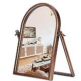 Geloo Vintage Makeup Desk Mirror-Vanity Tabletop Mirrors 360° Adjustable Rotation,Bronze Metal Framed Small Standing Mirror for Boho Decor, Bedroom,Bathroom Counter,Dresser,Antique