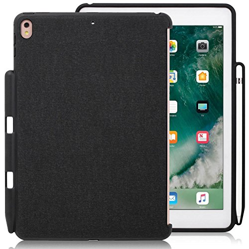 KHOMO iPad Pro 9.7 Zoll Rückseitige Begleiter Hülle Back Cover Hülle Kompatibel mit Smart Cover, Tastatur, & Apple Pencil - Schwarz Grau - Back Pen Pro 9.7