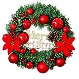 Corona De Navidad 11,8 Pulgadas De Navidad Colgante Artificial De La Guirnalda De La Guirnalda Con El Ornamento De La Puerta Delantera Roja De La Flor De Partido De Las Flores Artificiales Para La