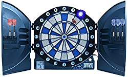 Best Sporting electronic dart board Cambridge with LED illuminated digits, cabinet dartboard with 6 darts including power supply, battery operation possible