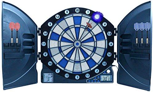 Best Sporting elektronische Dartscheibe Cambridge mit LED beleuchteten Ziffern, Kabinett Dartboard mit 6 Dartpfeilen inklusive Netzteil, Batteriebetrieb möglich