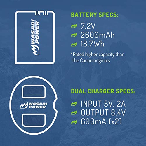 Wasabi Power LP-E6, LP-E6N Battery (2-Pack) and Dual Charger for Canon EOS 5D Mark II/III/IV, EOS 5DS, 5DS R, EOS 6D, 6D Mark II, EOS 7D, 7D Mark II, EOS 60D, 60Da, 70D, 80D, EOS R, EOS R5, XC10, XC15