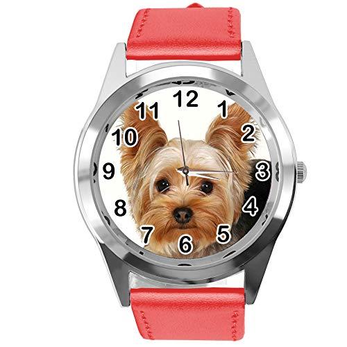 Reloj analógico de Cuarzo con Correa de Piel auténtica, Redondo, Rojo, para los Fans de York Terrier