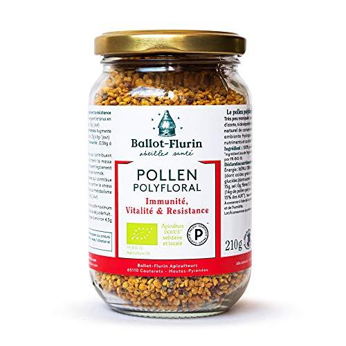Ballot Flurin - Pollen Polyfloral Dynamisé - Bio - Fabriqué en France - Certifié Paleo - 210 g