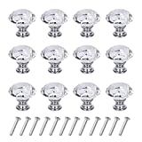 12 Pack Drawer Knobs Diamond Shaped Crystal Glass 30mm Cabinet Knobs Pull Handles