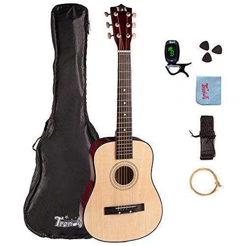 Trendy 30 Inch 1/2 Half Size Children Beginner Steel String Acoustic Guitar Package, Basswood, Nature