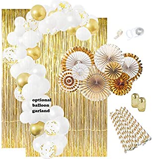 Gold Party Decorations: Gold Balloons, Weddings Decorations White Balloon Garland Kit Paper Fans Gold Foil Curtain New Years Birthday Decorations Engagement Party Bachelorette Graduation 1920