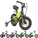 NB Parts - Bicicleta infantil para niños y niñas, BMX, a partir de 3 años, 12 pulgadas / 16 pulgadas, color amarillo opaco, tamaño 12