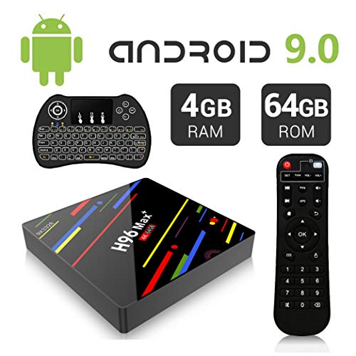 Android 9.0 TV Box, H96 Max+ TV Box 4GB 64GB RK3328 Support H265 VP9 2.4G 5G WiFi 100M LAN Bluetooth KD18 USB3.0 Smart 4K Android TV Box+Wireless Keyboard (Backlit)