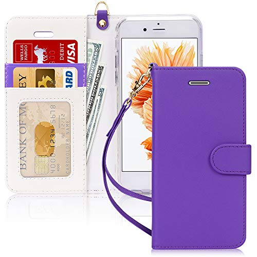 FYY Case for iPhone SE/iPhone 5S/iPhone 5, [Kickstand Feature] Luxury PU Leather Wallet Case Flip Folio Cover with [Card Slots][Wrist Strap] for iPhone SE/iPhone 5S/iPhone 5-Purple
