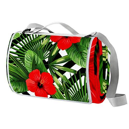 TIZORAX Rote Hibiskus mit Blättern in gestreifter Picknickdecke, wasserdichte Outdoor-Decke, faltbar, praktische Matte für Strand, Camping, Wandern