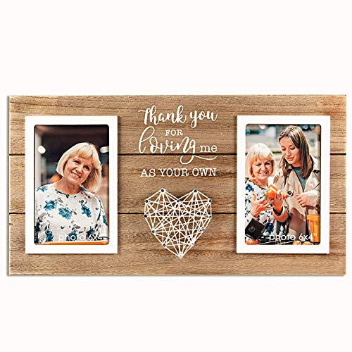 VILIGHT Stepmom and Mother in Law Picture Frame Gifts - Wedding Gifts for Stepdad - Thank You for Loving Me As Your Own - Holds 2 4x6 Inches Photos