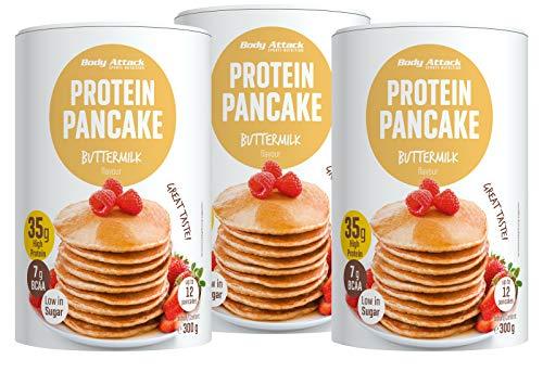Body Attack Protein Pancake Mix, Eiweißpulver für Pfannkuchen mit 35% Protein, schnell und leicht abnehmen mit der Low Sugar Backmischung (Buttermilch, 3 x 300g)