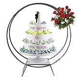 Soporte de metal para flores de boda, 80 cm, doble aro para tartas, flores, rayas para decoración de bodas (plateado)