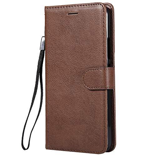 Hülle für [Moto E4 Plus] Hülle Handyhülle [Standfunktion] [Kartenfach] Tasche Flip Case Cover Etui Schutzhülle lederhülle klapphülle für Motorola Moto E4Plus - DEKT051220 Braun