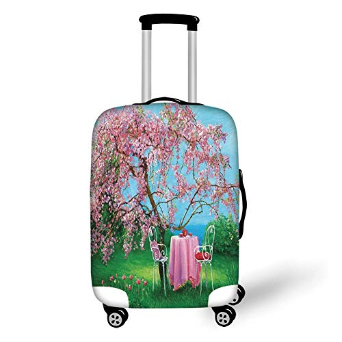 Travel Luggage Cover Suitcase Protector,Rustic,Tea Time Theme Vintage Chairs Plum Tree Spring Garden Painting,Light Blue Green and Light Pink,for TravelXL 29.9x39.7Inch