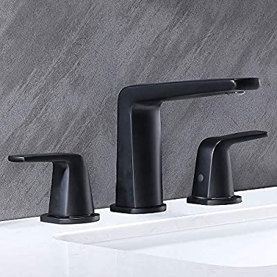 VALISY 2-Handle 3 Hole Deck Mount Lavatory Matte Black Widespread Bathroom Sink Faucet, with Drain and Water Hoses Vanity Sink Faucets Set