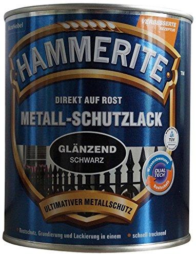 AKZO NOBEL (DIY HAMMERITE) 5087594 Metallschutzlack Hammerite Metall-Schutzlack glänzend 2,500 L, schwarz, 2,5 Liter