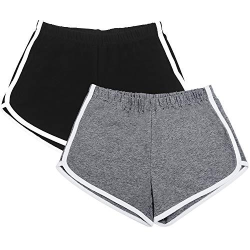 URATOT 2 Pack Cotton Sport Shorts Yoga Dance Short Pants Summer Athletic Shorts Black, Dark Grey