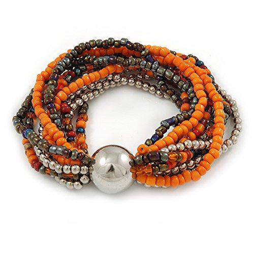 Avalaya, bracciale a più fili con perline in vetro e plastica e una sfera (arancione/argento/blu pavone)-18cm L