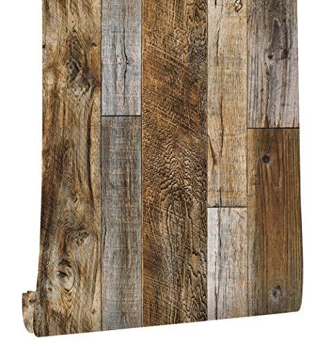 HaokHome 5005 Distressed Faux Wood Plank Wallpaper Rolls Brown/Tan Barnwood Wallpaper Murals Home Kitchen Bathroom Decoration 20.8' x 31ft